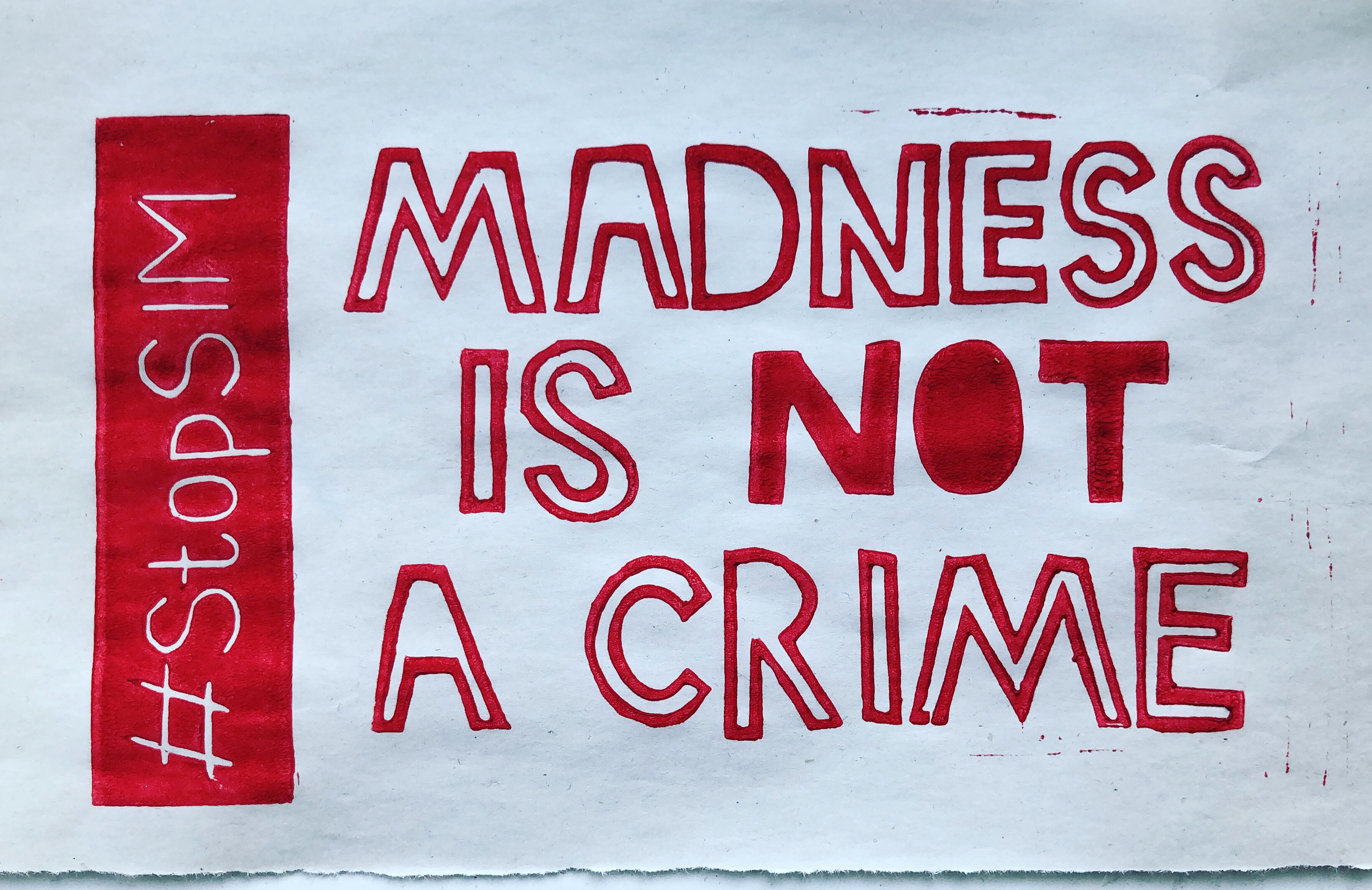 madness is not a crime lino print art